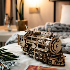 Steam Locomotive Model Building Kits DIY Wooden Train Clockwork Toy for Adults