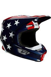 New Fox Racing V1 Ultra Helmet White/Red/Blue, Size M, 26572-574-M