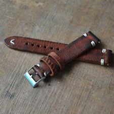 Distressed Leather Straps Vintage Style Wome/Men Watch Band Strap with Stitching