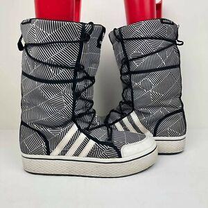 Adidas Women's Original Moon Honey Boots US 8.5 Midcalf Black/White winter snow