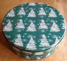 VinTaGe CHRISTMAS COOKIE Biscuit Candy TIN Canister White Feather Tree Starburst