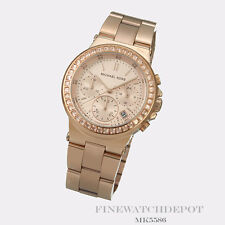 Authentic Michael Kors Ladies Rose Gold Chronograph Watch MK5586