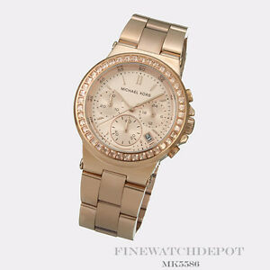 Authentic Michael Kors Ladies Rose Gold Chronograph Watch MK5586