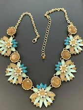 Statement Fashion Necklace Beige Tan Blue Turquoise Stones Gold Tone New