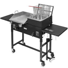 Commercial Restaurant Gas Grill With2 Deep Fryer Heavy Duty Countertop Grill Food