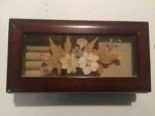 Vintage wooden and glass with inlaid pressed flowers musical jewelry box