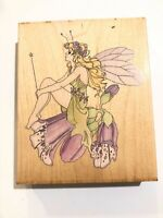 Stamps Happen FAIRY ON FOXGLOVE Rubber Stamp Wood Mounted #80087