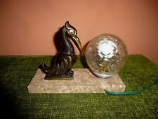 Antiques Periods & Styles The Best French Original Art Deco Superb Mood Lamp Fine Antelope Head On Marble Base 30cm