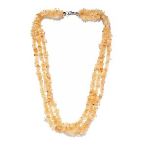 925 Sterling Silver Citrine Necklace Fashion Jewelry Gift For Women Ct 253.7
