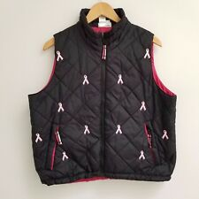 Coldwater Creek BREAST CANCER PINK RIBBON Womens Quilted Vest Puffy Sz L