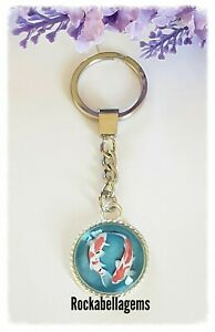 Personalised  Koi carp key ring, charm,