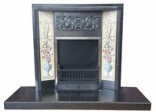 Victorian Tiled Fire Fire back And Hearth. Made For Solid Fuel, Gas, Electric