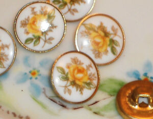 #927 Vintage Glass buttons Yellow Japan Japanese Button Flowers  Limoges Roses