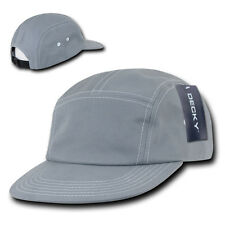 Grey 5 PANEL STRAPBACK HAT Contra-Stitch Plain Blank Cotton Camper retro camp
