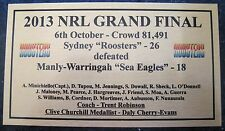 """NRL SYDNEY ROOSTERS  2013 Premiership Wining"""" SQUAD"""" Gold Plaque Free Post"""