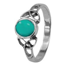 Ring December - Turquoise 0559 Celtic Trinity Knots Silver Birthstone
