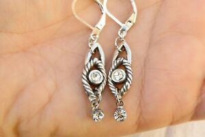 New Altered Brighton Swiss Silver & Crystal Dangle Bead Lever Back Earrings