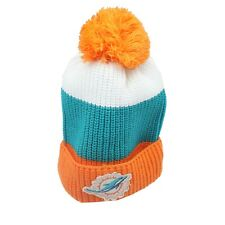 Miami Dolphins NFL Youth Boys One Size Fits Most Cuffed Pom Knit Beanie Hat New