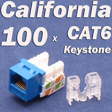 Lot 100 x Keystone 8P8C CAT6 RJ45 Network 110 Style Socket Punch Down Jack Blue
