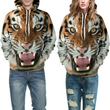 Unisex 3D Tiger Print Sweatshirts Hoodie Autumn Pullover Baggy Hooded Tunic Tops