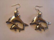 Ohrringe 2 Delphine Mutter und Baby untereinander aus Edelstahl Fisch  2944