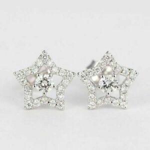Beautiful Star Shape Woman Stud Brilliant Round Cut Diamond 925 Silver Earrings