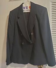 Jones New York Size Petite 10 Women's Black Silk 2 Piece Skirt Suit