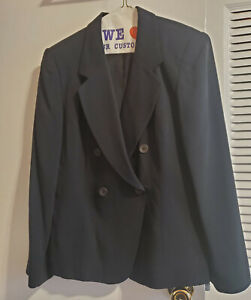 Jones New York Size Petite 10 Women's Black Silk 2 Piece Skirt Suit