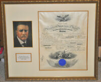 Theodore / Teddy Roosevelt Signed Framed Matted Navy Appointment Signature WoW