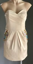 Gorgeous Soft Gold Strapless Jewel Embellished Satin Look Mini Dress Size 12