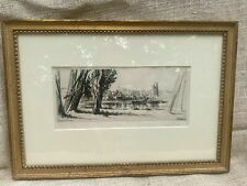 "FRANCIS SEYMOUR HADEN Original hand-signed etching ""Fulham"" framed Etching"