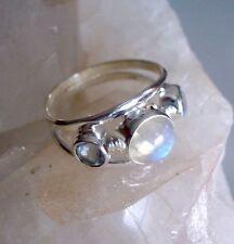 Ring mit Regenbogen Mondstein + Blautopas, 925er Silber, Gr. 18,1 - Labradorit