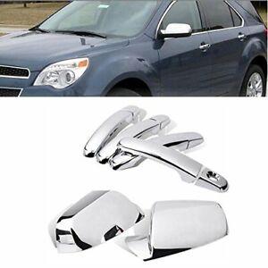 For 2010-2017 Chevy Equinox GMC Terrain Chrome Mirror + 4 Door Handle Covers