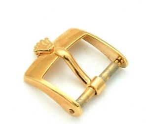 Authentic Vintage Rolex 18K Gold  Buckle for Leather Band 22-14-8 14mm Opening