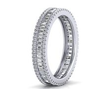 F/VS 1.60ct Baguette & Round Diamonds Full Eternity Ring in 950 Platinum
