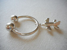 Sterling Silver Key Ring With Airplane Charm  485519
