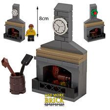 LEGO Fireplace Stone Fire inc Chimney, Coal bucket, Clock & Xmas Wreath - NEW