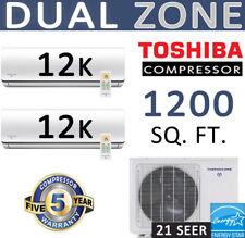 21 SEER Dual Zone Ductless Mini Split Air Conditioner - 2 x 12000 BTU