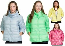 Ladies Quilted Padded Down Jackets 3/4 Sleeve Casual Outdoor Warm Button Coat