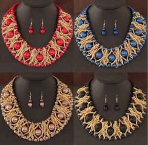 Women's luxury Pendant Pearl Chain Chunky Choker Statement Bib Necklace Set