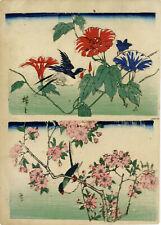 """véritable estampe japonaise originale de Hiroshige II """"fleurs et oiseau"""""""
