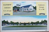 Ludowici, GA 1940s Linen Postcard: Rainbow Courts / Motel - Georgia