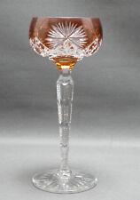 Kristallglas , orange farbender Überfang, Römer, gekerbter Schaft, 19,5 cm