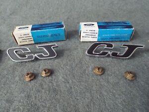 Pair-NOS 429 CJ Engine Badges 1970 Mercury Cyclone Spoiler-Emblem Cobra Jet Ford