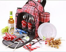 4Person Picnic Back Pack   Insulated   incl. all accessories   Red Tartan