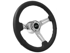 1976 - 1995 Jeep S6 Sport Black Leather Steering Wheel Chrome Kit   3 Spoke Slot