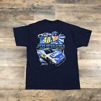 Nascar Jimmy Johnson Mens Large Blue T-Shirt Lowe's #48 Double Sided Daytona 500