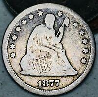 1877 Seated Liberty Quarter 25C High Grade Detail Good 90% Silver US Coin CC4803