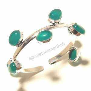 925 Silver Plated Free Shipping Wristbands Green Onyx Bangles Cuff Bracelets