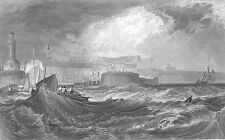 RAMSGATE HARBOR ROW SAIL BOATS IN SEA STORM ~ 1875 SEASCAPE Art Print Engraving